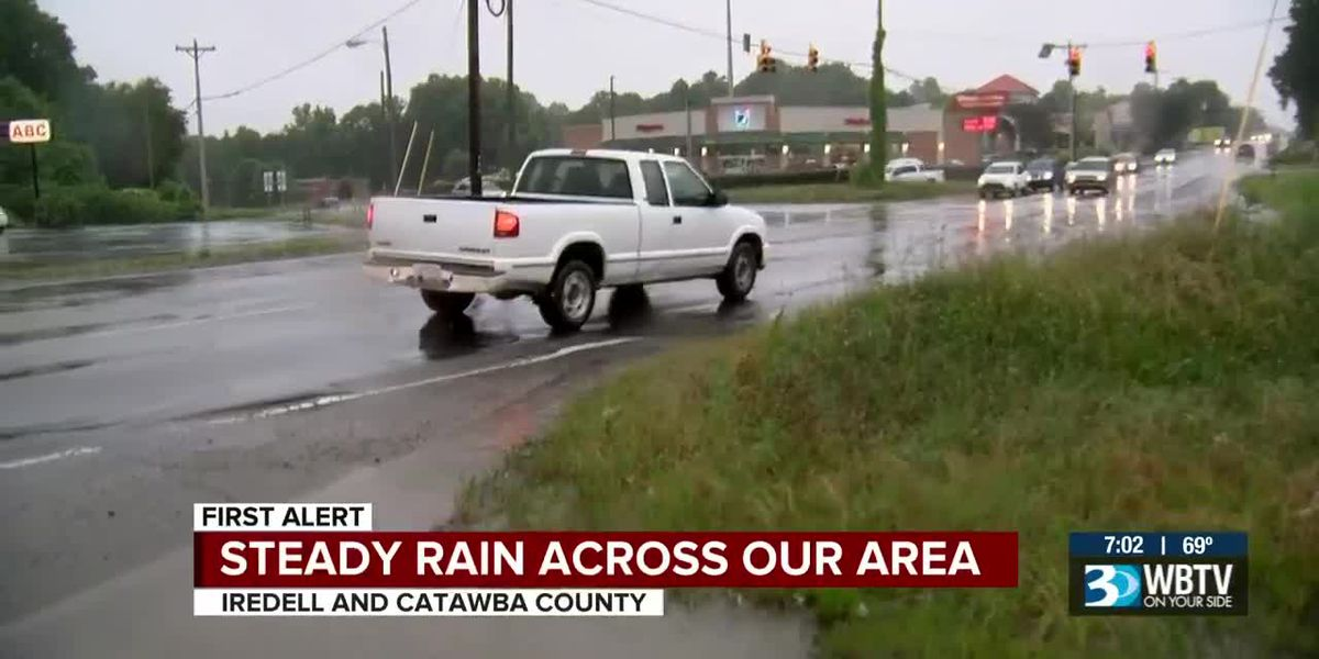 Steady rain falls across WBTV-viewing area