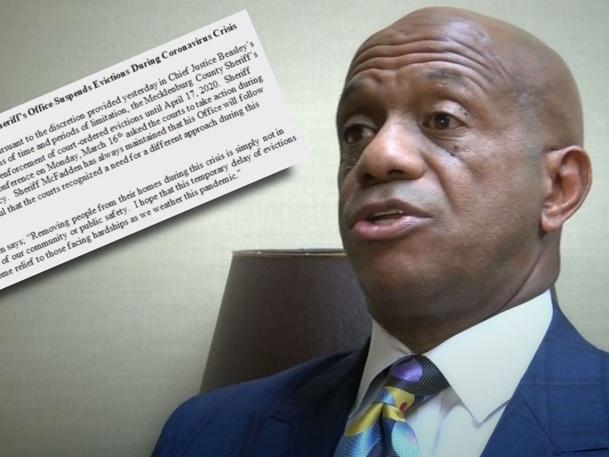 Mecklenburg Sheriff not enforcing evictions, some sheriffs are during COVID-19 outbreak