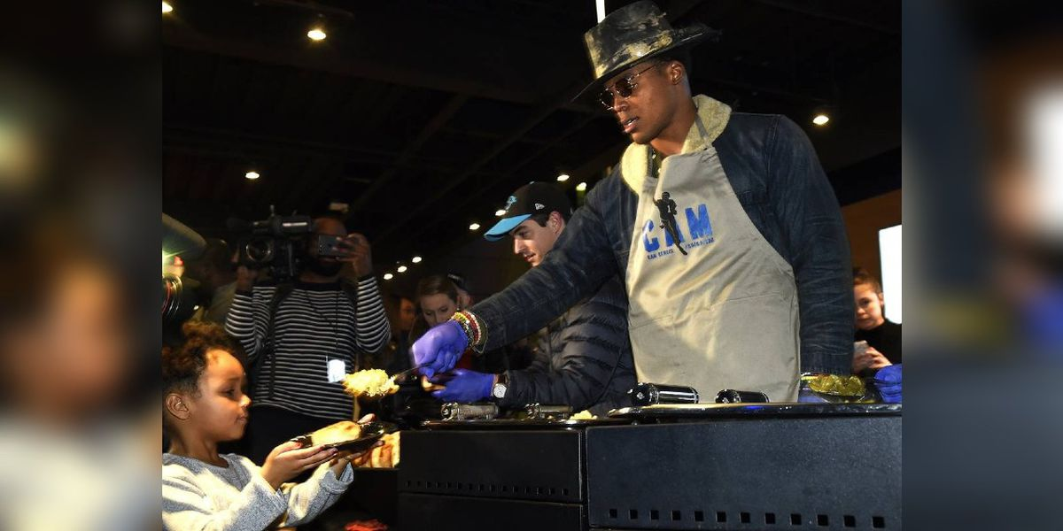 Cam Newton will dish up Thanksgiving meals to 1,200 underprivileged children