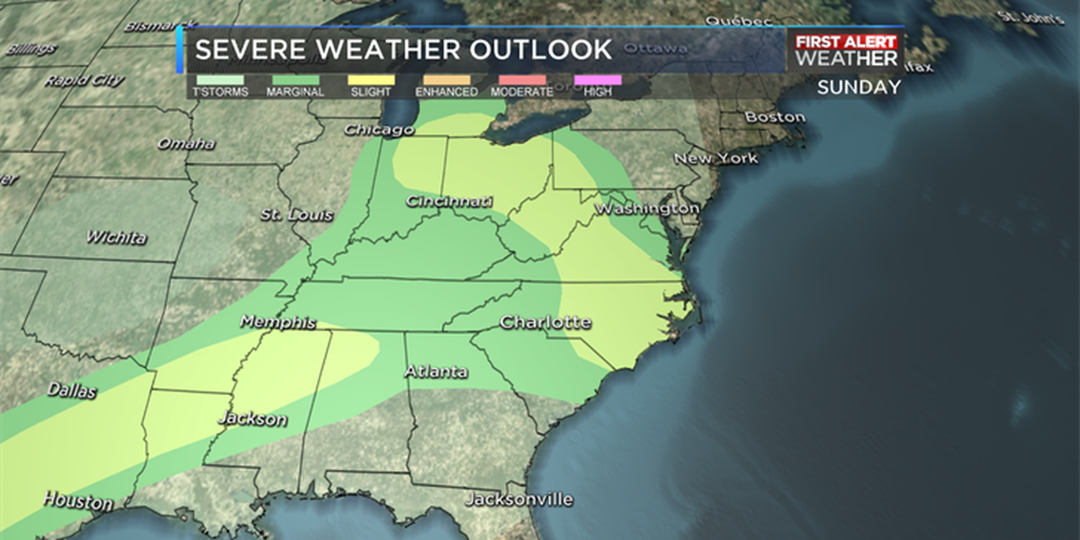 First Alert Day issued for Sunday, severe thunderstorms possible