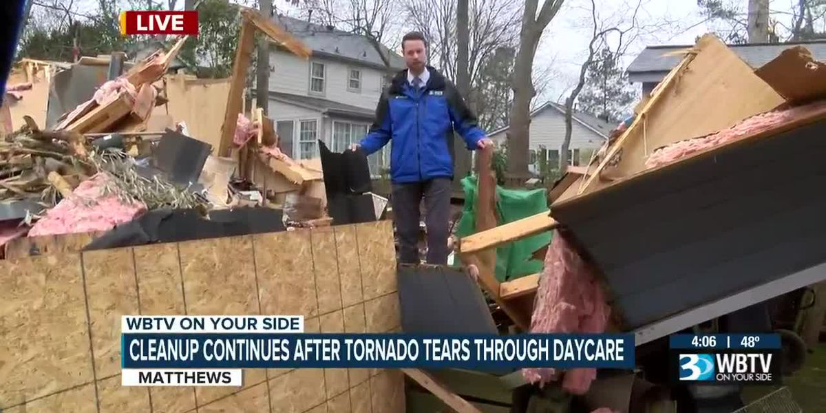Cleanup continues after tornado tears through Matthews daycare