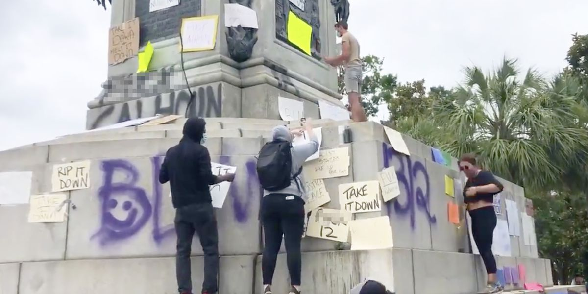 City closes Marion Square after Calhoun statue vandalized; arrests made