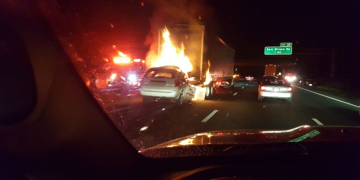 One dead, driver being sought in crash involving tractor-trailer on I-85 NB
