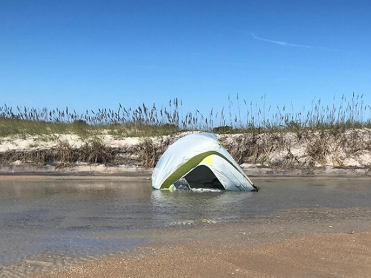 Outer Banks campers find themselves floating as tides reach unexpectedly high levels