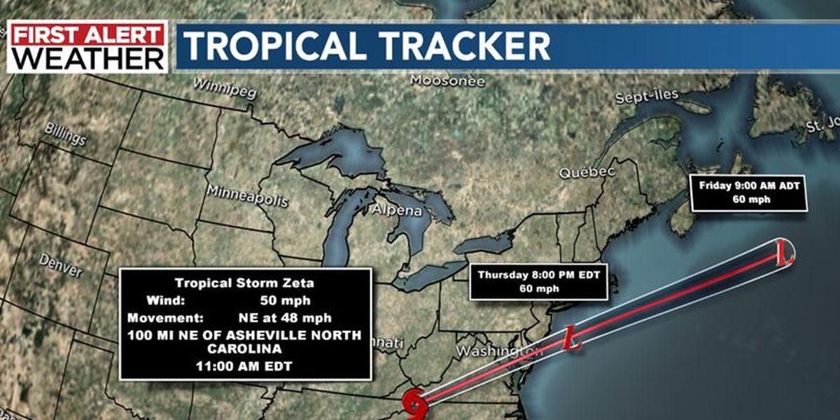 Zeta's strong winds slowly diminish; isolated storms may continue through Thursday evening