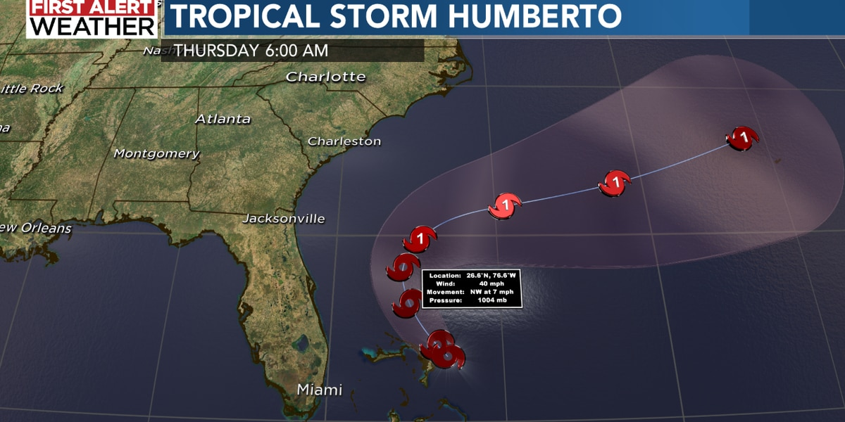 BLOG: TS Humberto is headed out to sea!