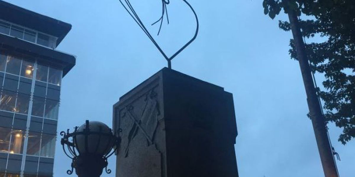 Heart appears atop remains of toppled Durham Confederate statue