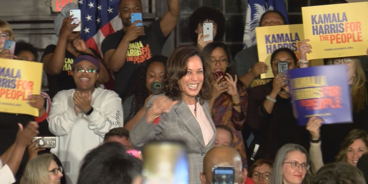 Despite wet travel weather, Kamala Harris makes it to town hall event at Winthrop University