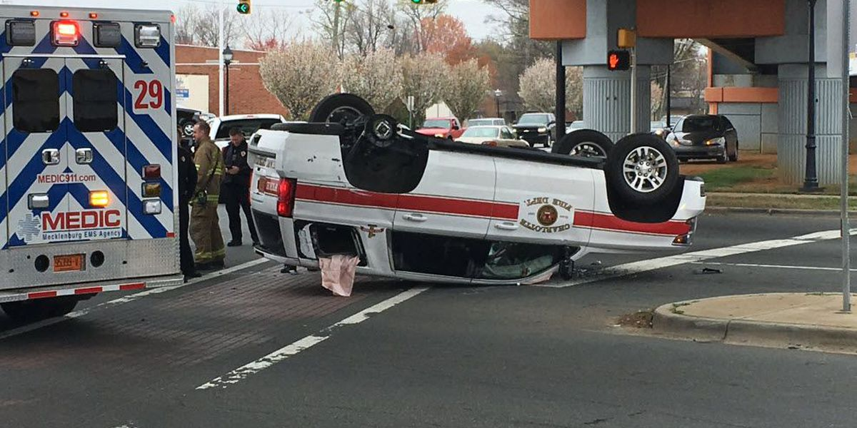 Charlotte Fire Department vehicle overturned in wreck in south Charlotte