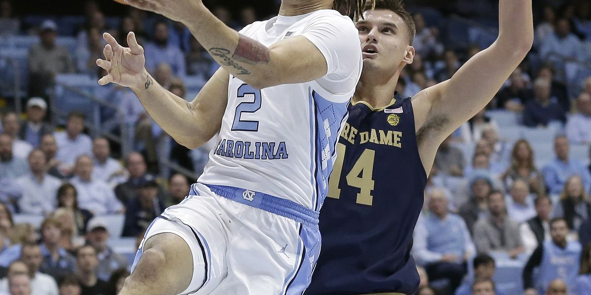 Freshman Anthony scores 34 points, No. 9 UNC beats Irish