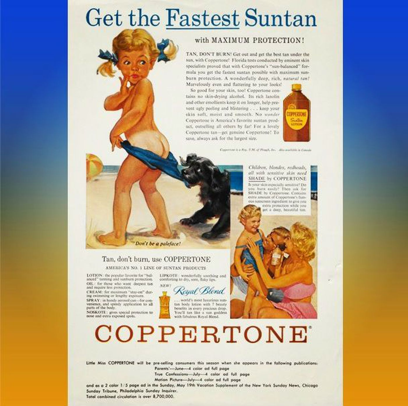 """Ad featuring the 1953 version of the """"Coppertone girl"""" Source Coppertone s Instagram"""