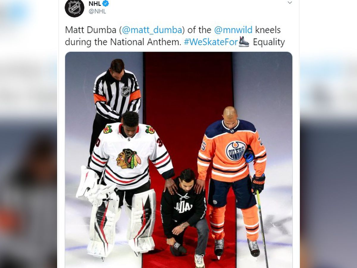 Dumba kneels, NHL puts focus on Black Lives Matter movement