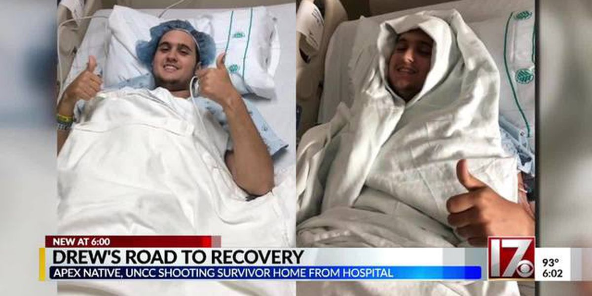 UNC Charlotte shooting victim Drew Pescaro shares his story after returning home