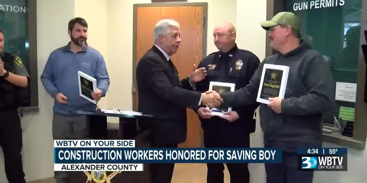 Construction workers honored as heroes for saving child from lake
