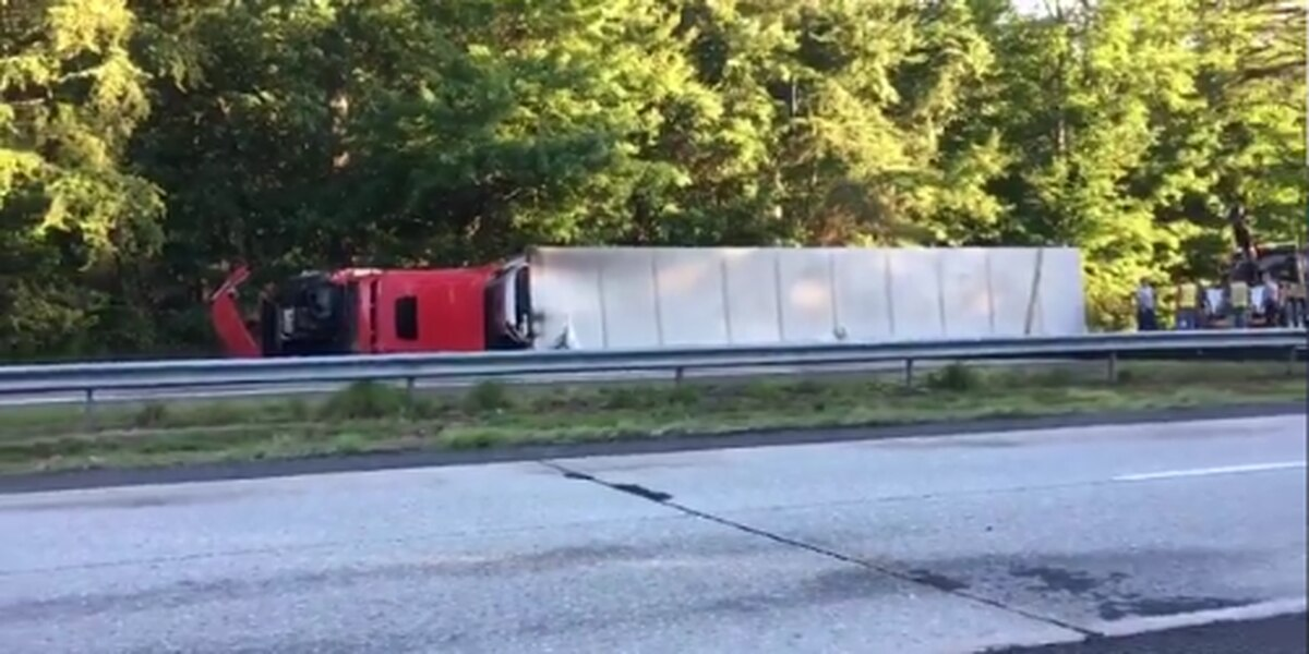 Two injured after tractor trailer overturns on I-40 in Burke County