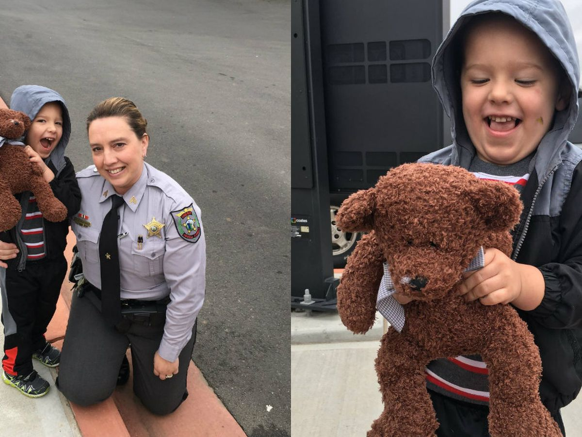 Sergeant lets boy sit in patrol car, gives him new teddy bear