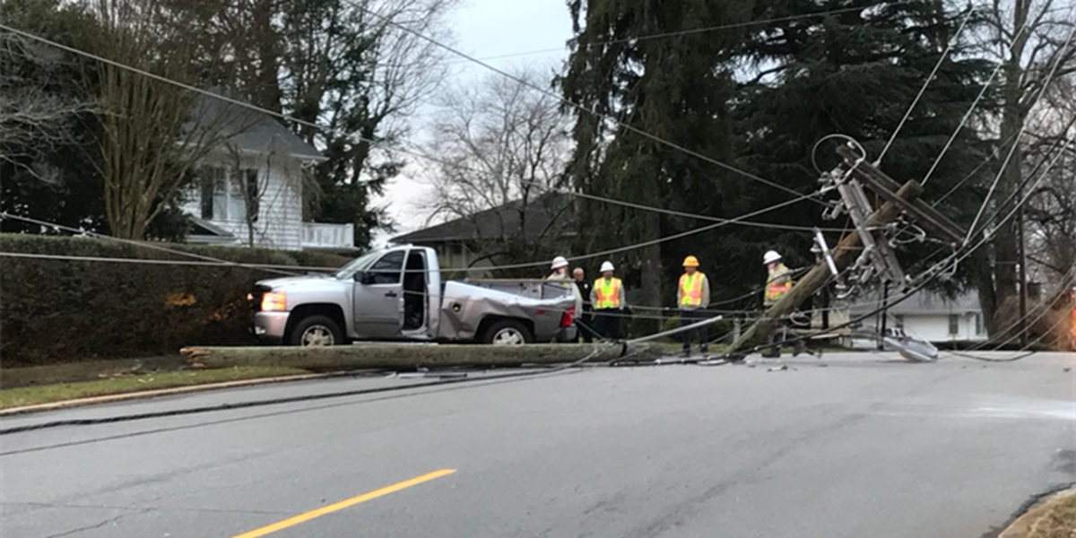 Driver knocks down utility pole, brings down power lines in Burke County