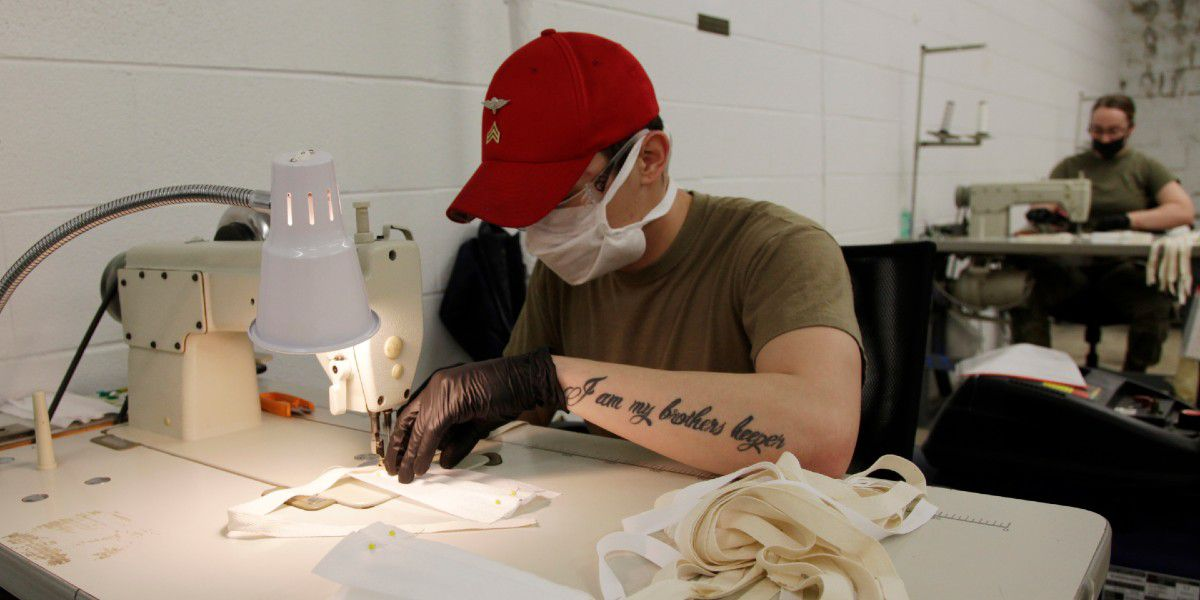 Fort Bragg soldiers make masks to fight coronavirus pandemic