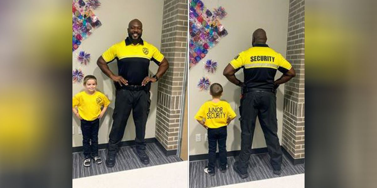 Kindergartner dresses as school security officer for 'Dress as Your Favorite Person Day'