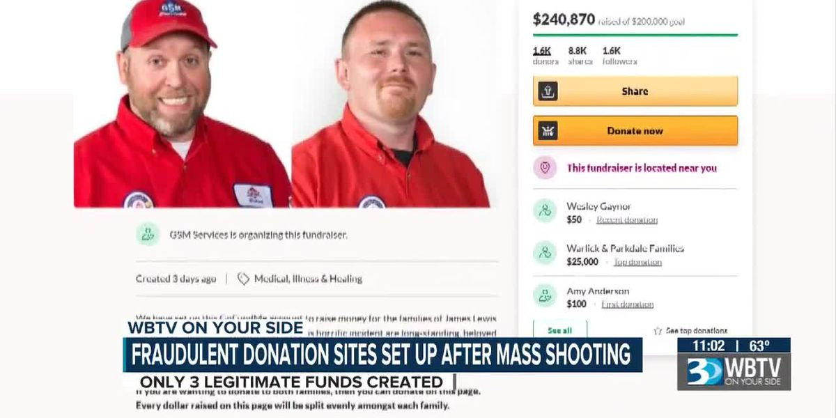 Fraudulent donation sites set up after mass shooting