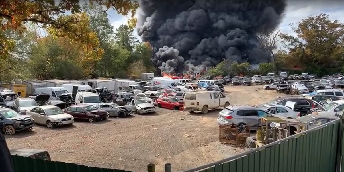 Crews working to control fire at Shelby scrapyard