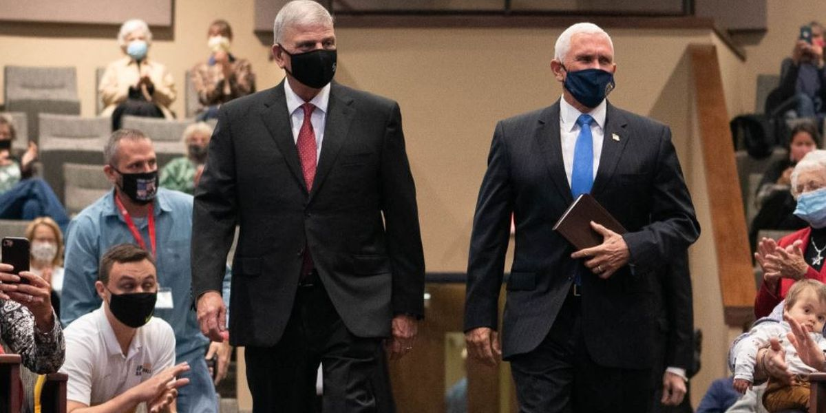 'America is a Nation of Faith': VP Pence attends worship service in Boone with Franklin Graham