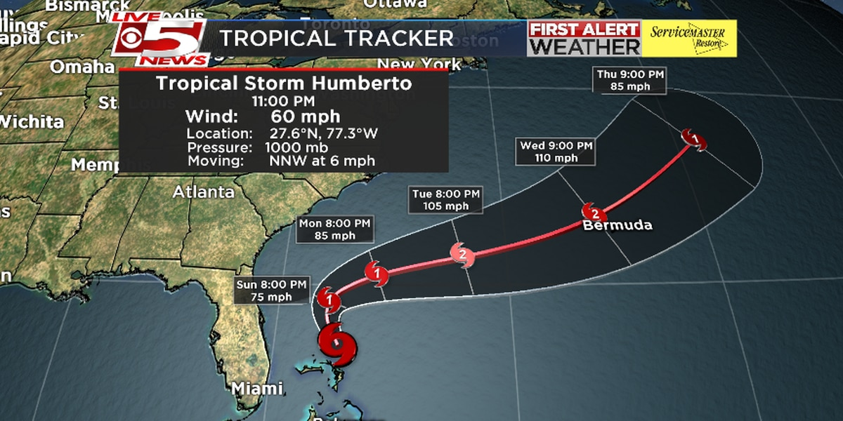 Strengthening Humberto to become hurricane by Monday; Potential for heavy rainfall likely in Lowcountry