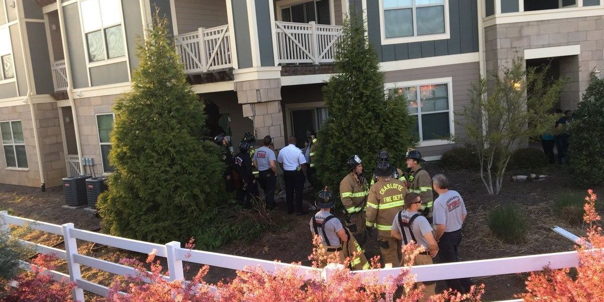 Car crashes into apartment building, one person injured in northeast Charlotte