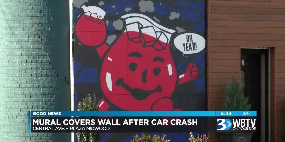 Mural covers wall after car crash