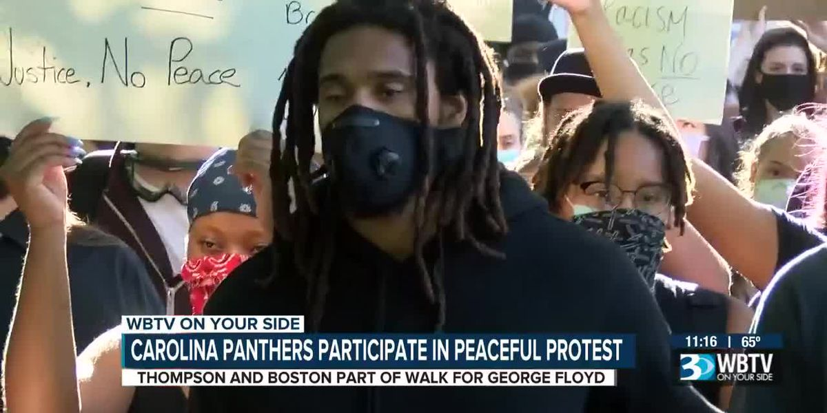 Carolina Panthers Thompson & Boston participate in peaceful protest
