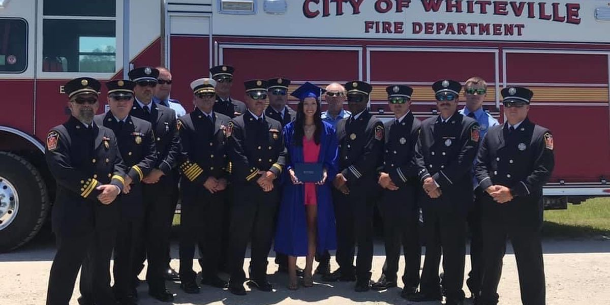 Firefighters show up as 'honorary Dads' for graduate