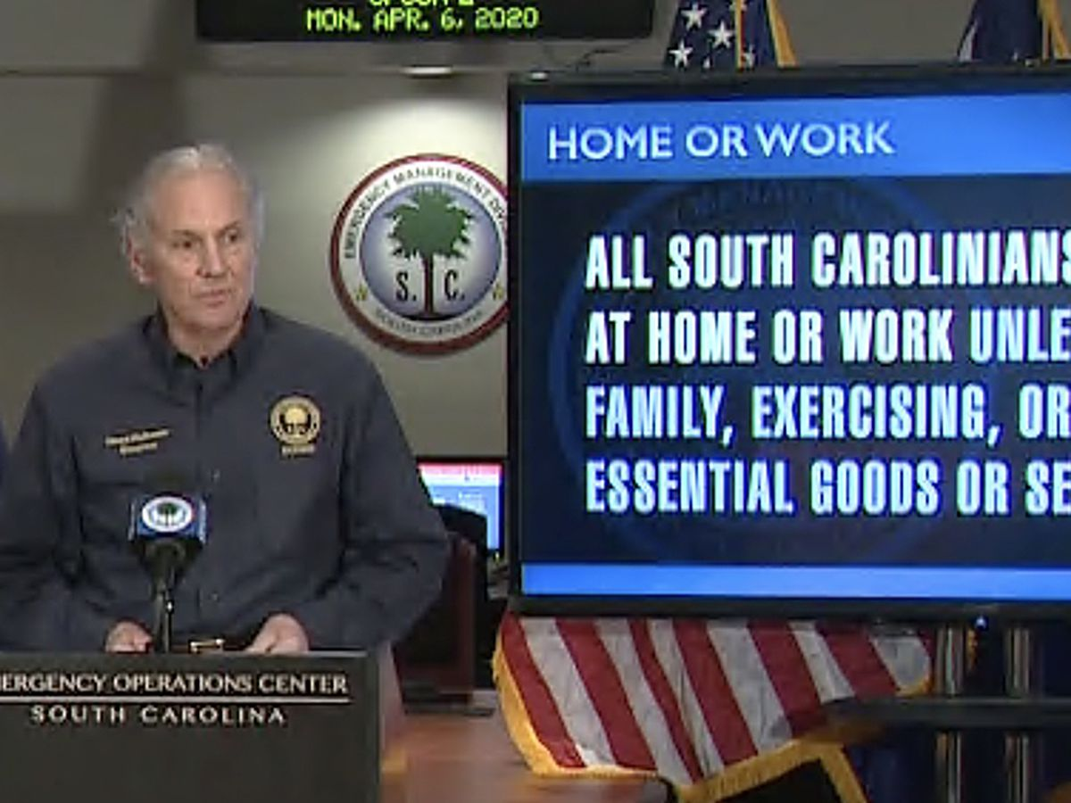 South Carolina's mandatory 'Home or Work' order now in effect as cases top 2,400