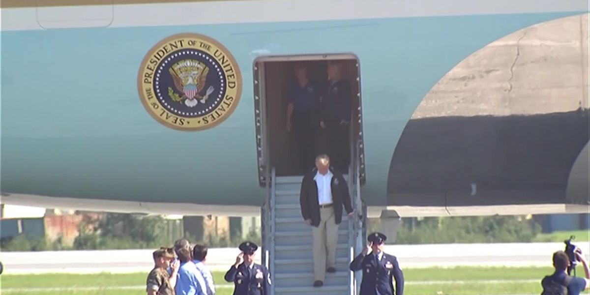 Trump arrives in Air Force One to tour Florence affected areas