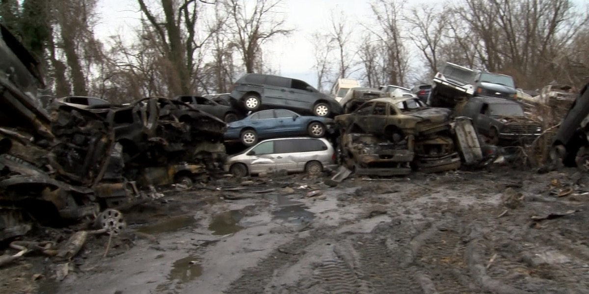 Hundreds of salvage cars engulfed in a New Year's Day fire