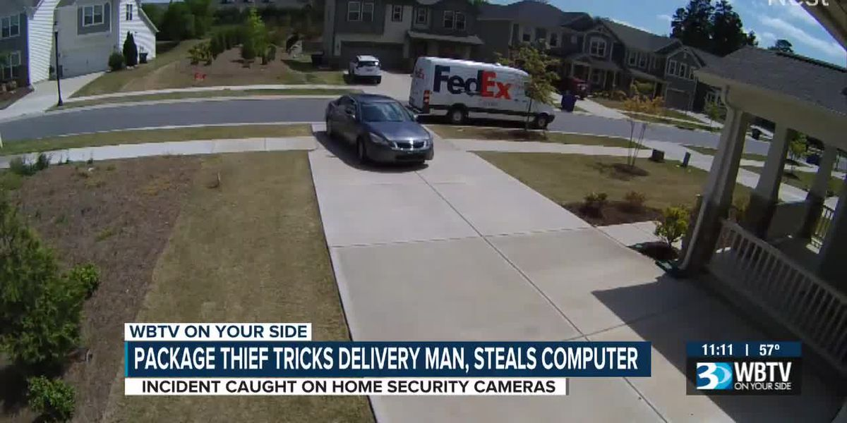 Package thief tricks delivery man, steals computer