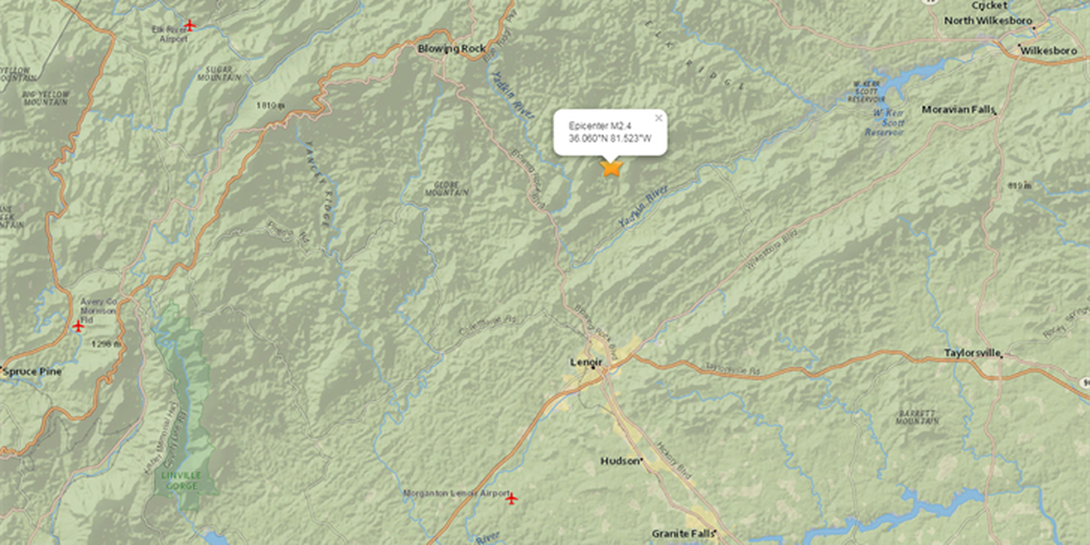 2.4 magnitude earthquake reported between Lenoir, Blowing Rock