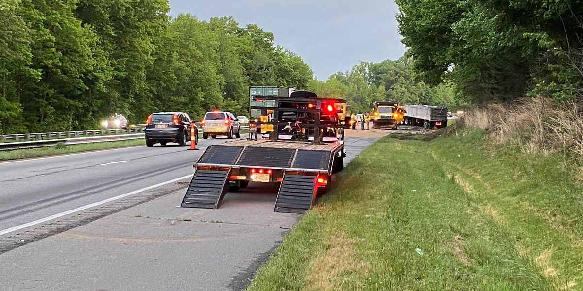 Dump truck fire and fuel spill causes morning traffic backups on I-77 NB in Iredell County