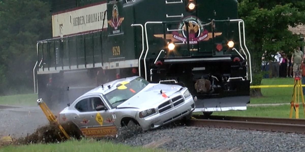 NCDOT stages train vs car crash to highlight rail safety