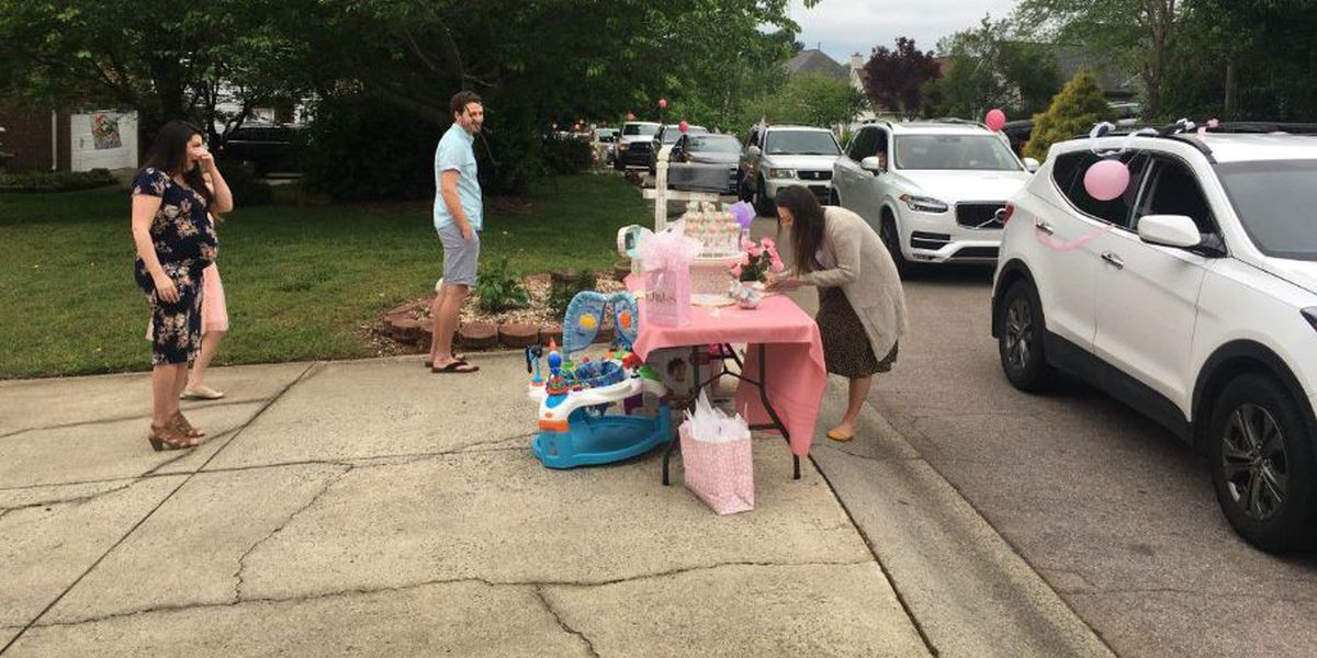 Family, friends throw surprise drive-by baby shower for nurse in Concord