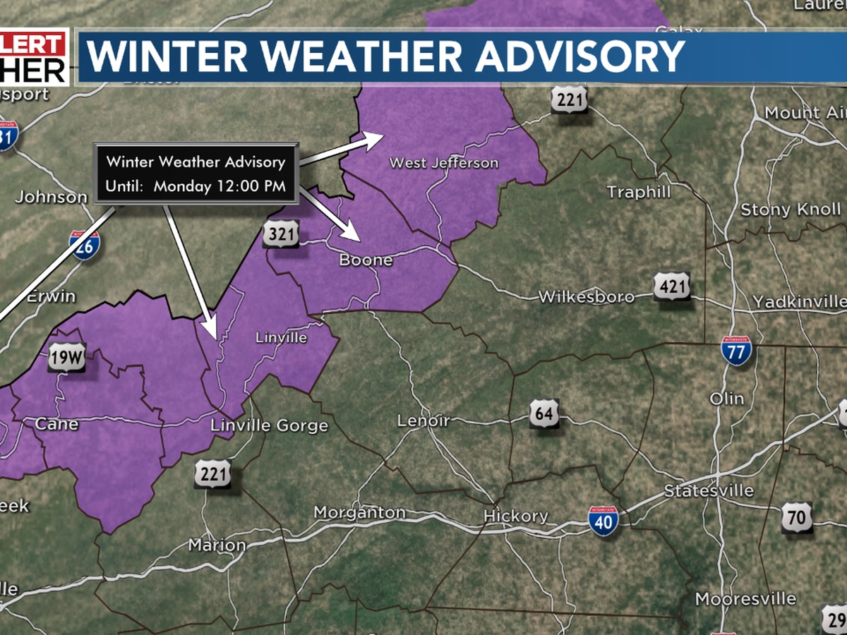 Winter Weather Advisory for the mountains; mostly sunny for the Piedmont