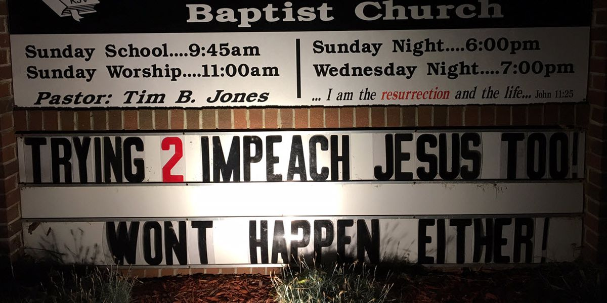 'Trying 2 impeach Jesus too!' N.C. church making news again for controversial sign