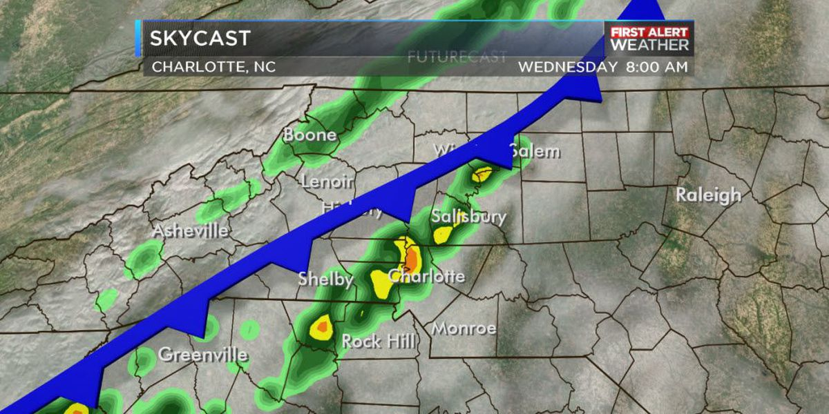 First Alert: Front to bring showers, thunderstorms Wednesday