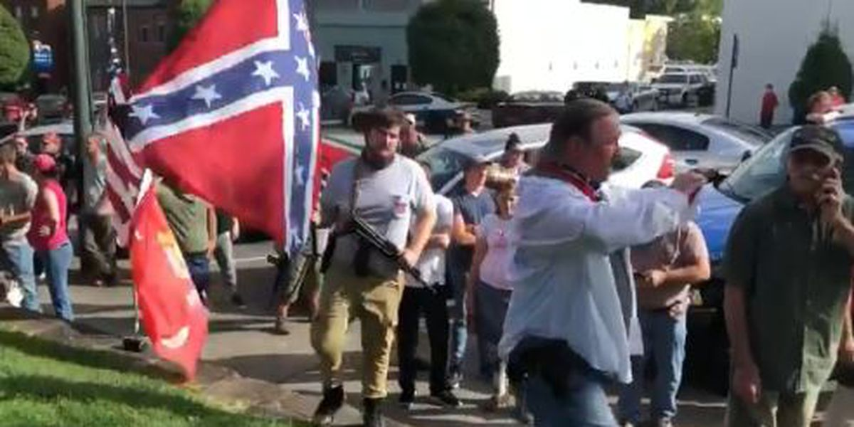 Armed activists gather in support of Morganton Confederate statue