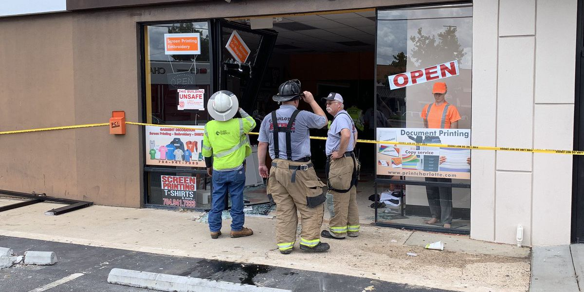 Vehicle crashes into east Charlotte building, injures one