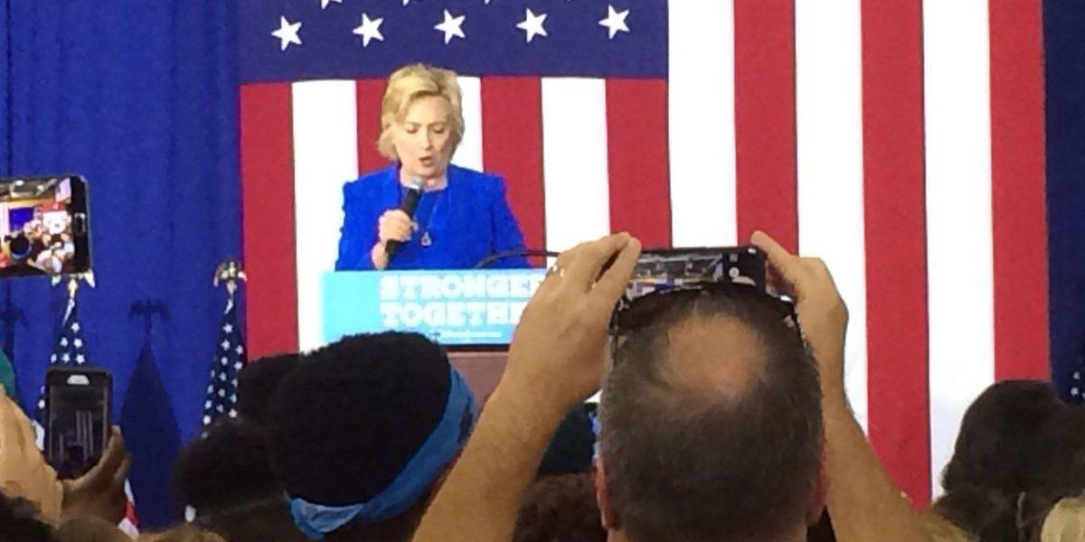 Hillary Clinton addresses crowd at Johnson C. Smith University