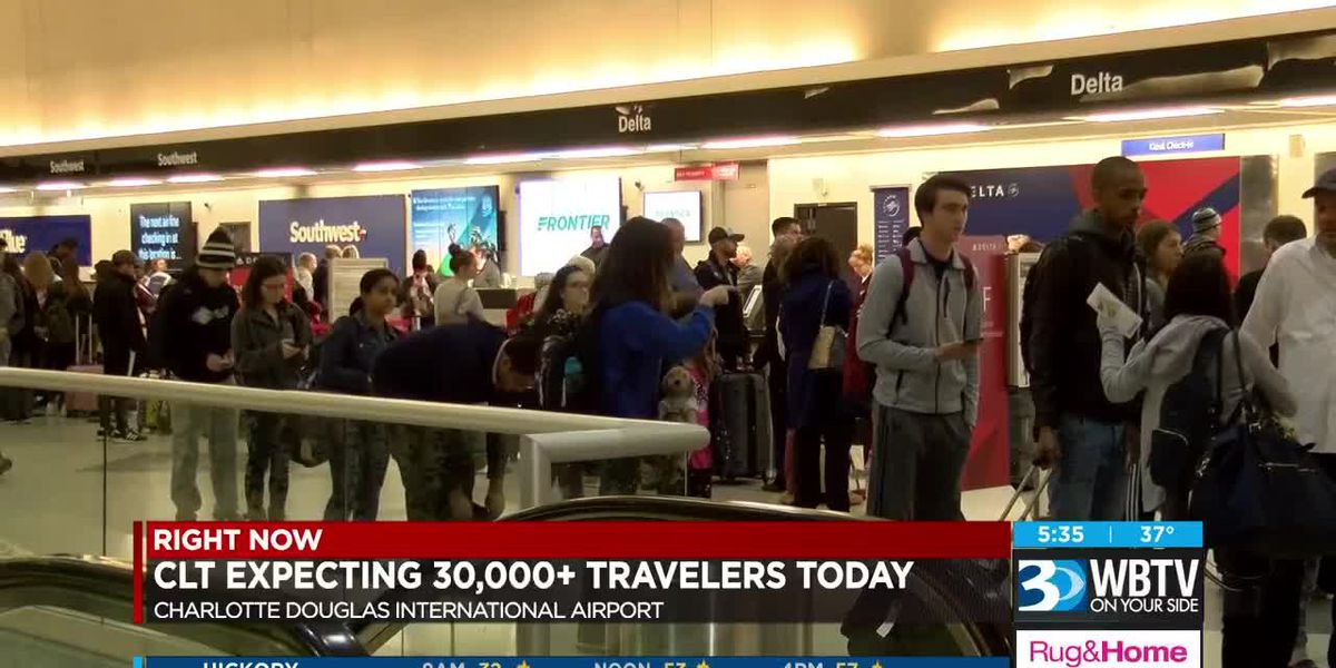 Holiday travel at the airport