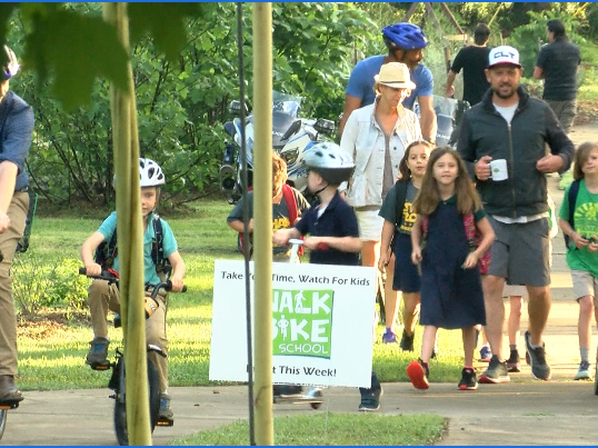 Elementary students hit the streets for 'National Bike To School Day'