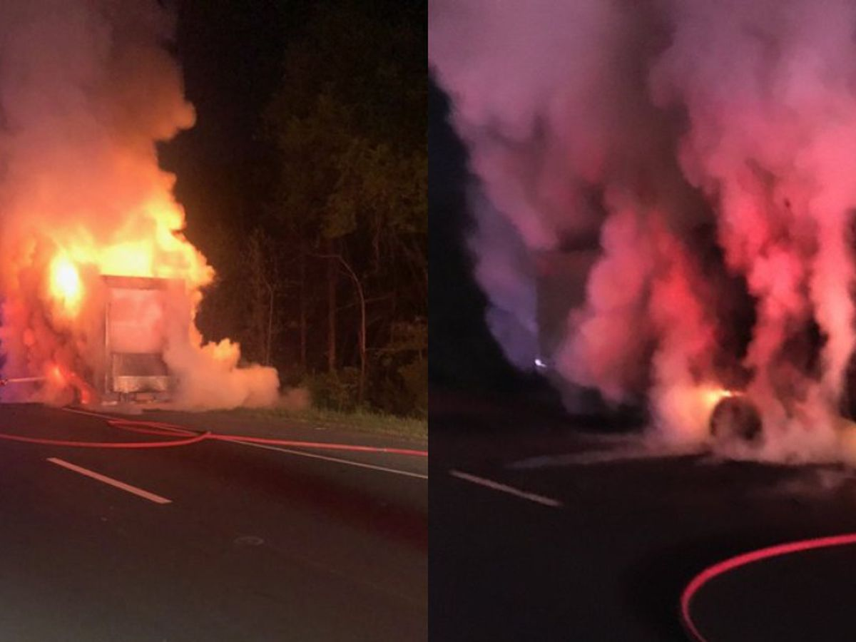 Tractor trailer goes up in flames on I-77 in Huntersville