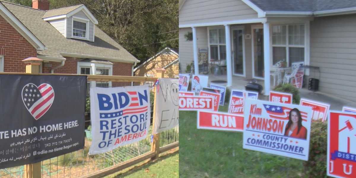 Passionate Trump, Biden supporters showcase yard displays as Election Day approaches