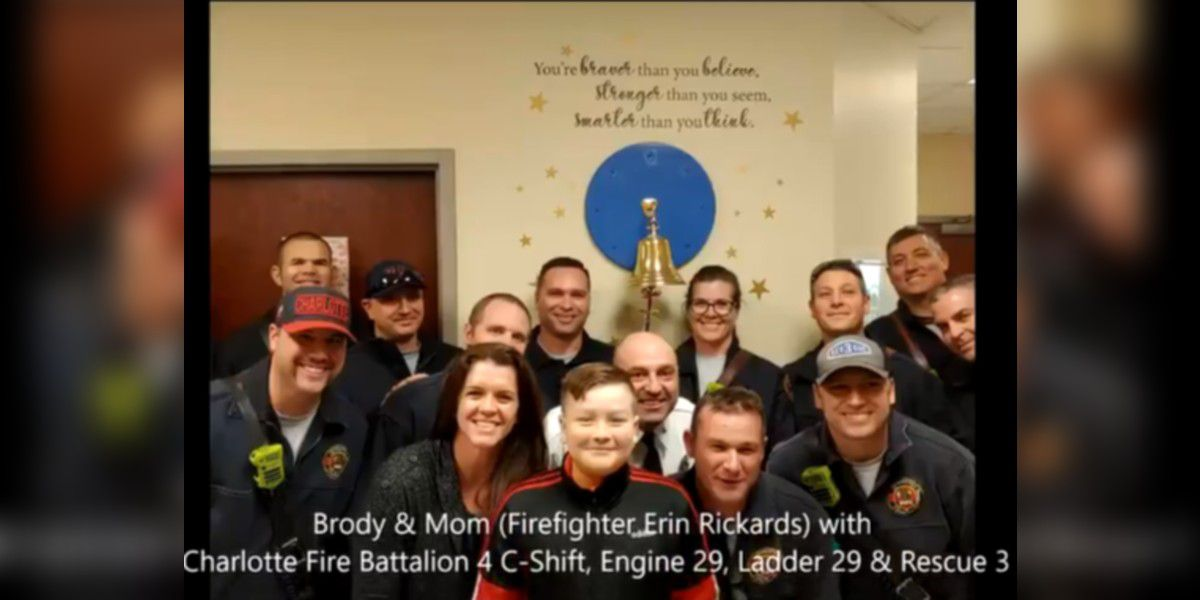 Charlotte firefighter's son beats cancer, department celebrates